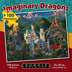 Jigsaw Puzzle  Imaginary Dragons 100 Pc By Dowdle Folk Art >>> Check out the image by visiting the link. Note:It is Affiliate Link to Amazon.