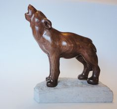 Howling Wolf Wood Carving in black walnut by NorthwoodsCarvings