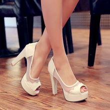 Nueva moda de verano 2015 zapatos mujeres Red Bottom plataforma tacones punta abierta Casual Slip on mujeres zapatos negro para la novia(China (Mainland))