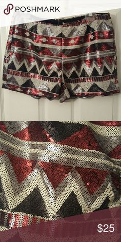 NWOT Sequin Shorts Never worn red, black, and gray sequin shorts. Have a zipper in back with a top closure. Forever 21 Shorts