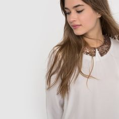 Bild Bluse, Kragen mit Pailletten R édition Rock, Pearl Earrings, Glitter, Fashion, Human Height, Sequins, Tops, Trousers, Pictures