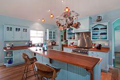 Tropisch Küche blau Holz Leuchter  Geräte Küchengeräten