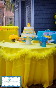#Yellow Feather Boa Table Decoration