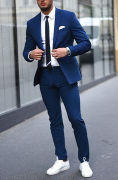 New Tailor Made Light Navy Blue Groom Tuxedos Casual Man Suit Slim Fit Mens Wedding Prom Party Suits(Jacket+Pants+Tie)terno Suits And Sneakers, Sneakers Outfit Men, Men's Sneakers, Sneakers Fashion, Shoes Men, Mens Fashion Suits, Fashion Outfits, Mens Suits Style, Men In Suits