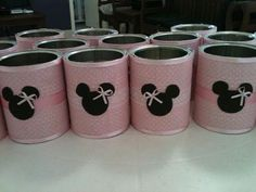 Pink and Black Can Minnie Mouse Minie Mouse Party, Fiesta Mickey Mouse, Minnie Mouse 1st Birthday, Minnie Mouse Pink, Mickey Mouse Parties, Mickey Party, Mickey Mouse Clubhouse, Baby Birthday, Tin Can Crafts