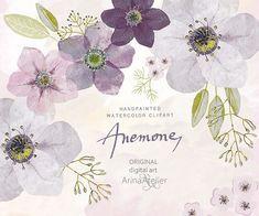 Anemones Watercolor Flowers CLIPART bright - Handpainted flowers, Wedding Florals, Wedding Invitations, DIY Invitation, Watercolor Flowers