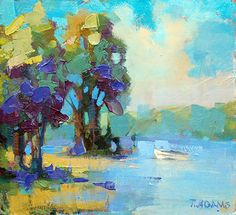 Small Boat by Trisha Adams Oil ~ 9 x 9.5 ~ SOLD