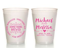 Something Old Something New Cups Wedding Cups Personalized Wedding Cups Anniversary Party Cups Frosted Cups Rehearsal Dinner Cups 1573 by SipHipHooray