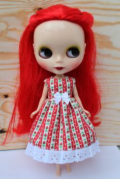 SALE...BLYTHE doll Its my party dress  Rose Red by TiredMomKnits