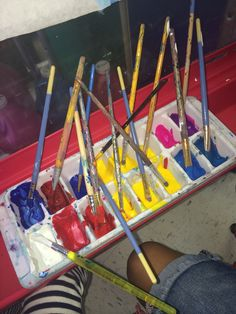 The colors chosen provide an opportunity to create secondary colors.  As the children began mixing and stirring the paint, they were able to see new colors evolve.-Little Wonders Blog