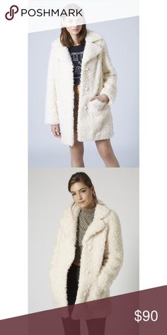 Topshop faux fur teddy coat Worn a few times like new condition! Excellent quality and fits true to size. Topshop Jackets & Coats