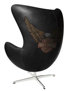 Harley Davidson Furniture | Customised Black Harley Davidson Egg Chair | Custom Designer Furniture ...