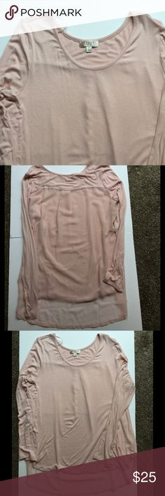 NWOT Long Sleeve Tunic w/Sheer Back size XL Scoop neck, long sleeve tee with a sheer back, hi/low tunic. Very cute but just never wore.  Color is a flesh...peachy/pink color. Kenar Tops Tunics