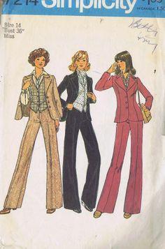 Jacket Pant Vest VINTAGE SEWING PATTERN 7214 SIMPLICITY SZ 14 BUST 36 HIP 38 CUT