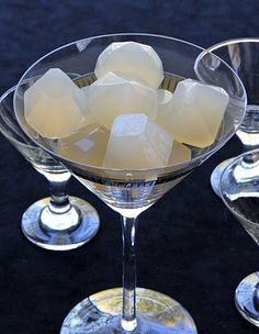 Pear Cosmopolitan Jelly Shots I want to try these... but they would be perfect for a bridal shower too....looks kind of like a cup of diamonds.