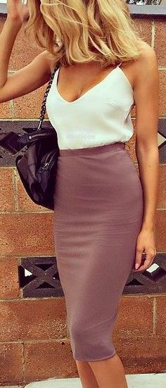 High waisted violet skirt, white top. Elegant street summer women fashion outfit clothing style apparel @roressclothes closet ideas