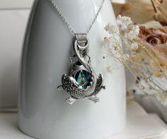 Affinity Ocean Aged Silver & Swarovski Necklace - Fantasy - Pisces - Gemini - Silver - Blue - Water - Bridal - Winter - Unique