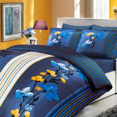 Sateen Duvet Cover Set Wendy – beautiful silk-like natural cotton Turkish sateen bedding set! Gorgeous combination of royal blue and contrasting marigold yellow. Duvet Sets, Duvet Cover Sets, Marigold, Home Textile, Bed Sheets, Royal Blue, Comforters, Pillow Cases, Modern Design