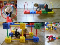 A cerceaux 1 Occupational Therapy Activities, Motor Skills Activities, Movement Activities, Gross Motor Skills, Fun Activities, Physical Activities For Kids, Kids Motor, Kids Obstacle Course, Baby Gym