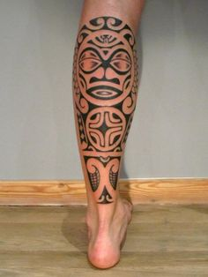 Chris Men's calf tattoo | II ★★★ Tattoos for Calf Maori by Perle Noire by Ponch Studio