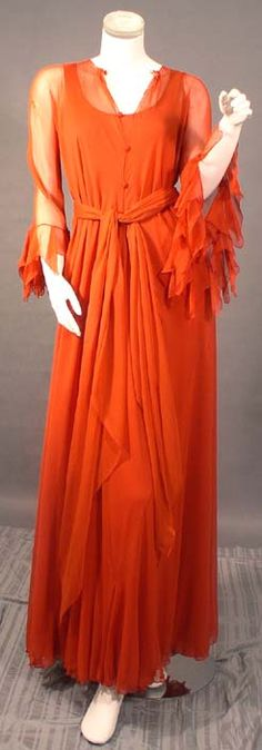 Diaphanous Stavropoulos Russet Silk Evening Gown w/ Matching Sheer Tunic & Sash