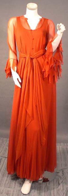 gorgeous diaphanous orange dress