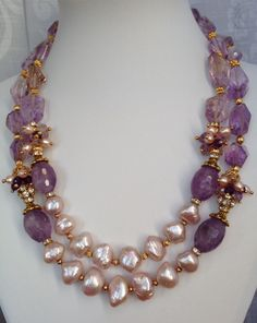 Amethyst & Baroque Pearls Necklace