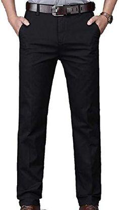 Joe Wenko Mens Classic Flat-Front Washed Workwear Cotton Pants Trouser
