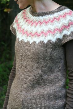 Vest knit with our llama/wool blend yarn, natural creamy white Romney, and naturally dyed Romney wool yarn.http://www.grandviewfarmvt.net/