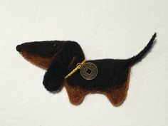 Needle Felted Dachshund - Dog - Puppy Brooch - Black and Tan Dog - Magnet - by Marina Lubomirsky by GoldenThreadDesign on Etsy