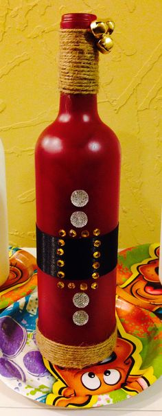 Santa wine bottle