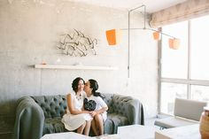 brides first look modern love furniture decor design arts district los angeles wedding reception | Jen + Kat | Los Angeles Stylish Same Sex Wedding | Jenn Emerling Weddings
