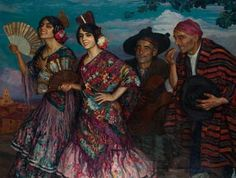 Women in Painting by Joan Cardona Llados Spanish Artist Gustave Dore, Spanish Music, Spanish Style, Flamenco Costume, Spanish Artists, Andalusia, Recital, Figure Painting, Contemporary Artists