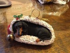 "The Danbury Mint- Delightful Dachshunds Christmas Ornament ""Stocking Snooze"""