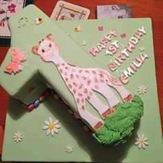 Sophie la girafe number one cake for first birthday