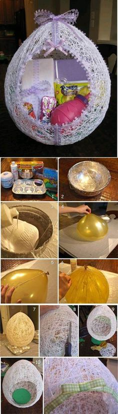 DIY Egg Shaped Easter String Basket