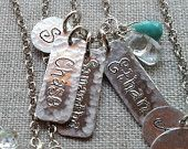 Hand Engraved Personalized Jewelry - Sterling Silver Rectangle Bliss Charms with Gemstones