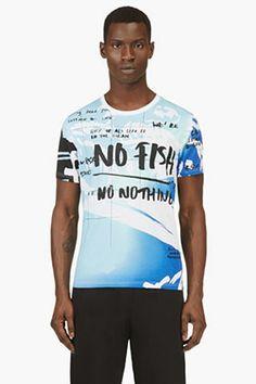 Kenzo Blue No Fish No Nothing Blue Marine Foundation Edition T-shirt for men | SSENSE