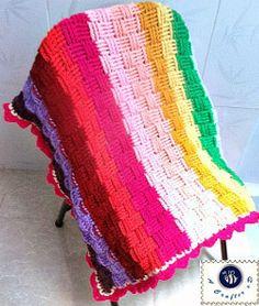 Rainbow Basket Weave Baby Blanket | AllFreeCrochetAfghanPatterns.com