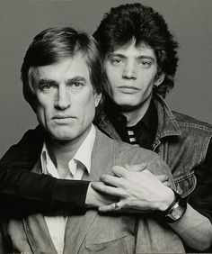 Wagstaff (left) poses with Robert Mapplethorpe, in a 1974 portrait by Francesco Scavullo. Courtesy of the Francesco Scavullo Foundation