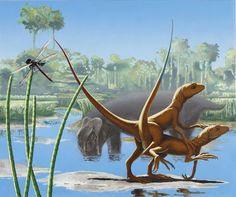 Proterosuchus mating in a Triassic swamp by Alexis Rockman Jurassic Park, Jurassic World, Dinosaur Images, Dinosaur Art, Dinosaure Herbivore, Les Reptiles, Carnivore, Prehistoric Animals, Prehistory