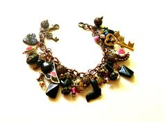 Vintage Assemblage  Charm Bracelet Copper Chain  by BootsiesWorld, $49.99