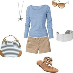 Love the light blue with khaki; beach attire for sure!Love the light blue with khaki; beach attire for sure! Beauty And Fashion, Look Fashion, Passion For Fashion, Womens Fashion, Retro Fashion, Fashion News, Girl Fashion, Fashion Hair, Lolita Fashion
