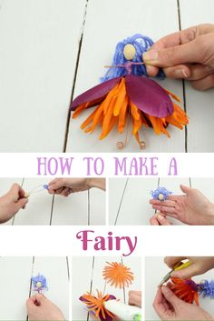 How to Make Beautiful DIY Fairies from Artificial Flowers - Be the Gem - How to Make A Fairy This is a really easy fairy DIY using artificial flowers, wire and yarn. Fairy Crafts, Garden Crafts, Fun Crafts, Crafts For Kids, Garden Ideas, Fairy Room, Clothespin Dolls, Flower Fairies, Fairy Dolls