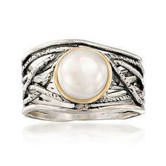 Ross-Simons - Cultured Pearl Openwork Ring in Silver, Yellow Gold. Gemstone Jewelry, Diamond Jewelry, Gold Jewelry, Fine Jewelry, Pearl Set, Pearl Ring, Starfish Earrings, Oxidized Sterling Silver, Cultured Pearls