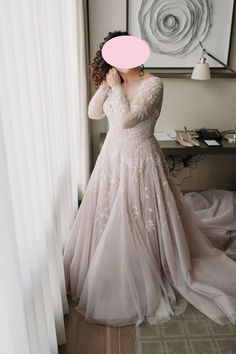 Plus Size Blush Long Sleeve Lace Wedding Dress.The professional tailors custom this long sleeve lace wedding dress with any sizes and many other colors.Contact us to custom fashion wedding dress online. Wedding Dress Empire, V Neck Wedding Dress, Long Sleeve Wedding, Blush Colored Wedding Dress, Size 18 Wedding Dress, Gown Wedding, Plus Wedding Dresses, How To Dress For A Wedding, Bridal Dresses