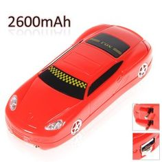 2600mAh Cute Car Style Mobile Backup Battery for iPhone, Cell Phone
