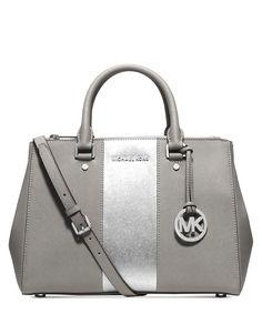 MICHAEL KORS Michael Michael Kors Sutton Stripe Medium Leather Satchel'. #michaelkors #bags #shoulder bags #hand bags #leather #satchel #