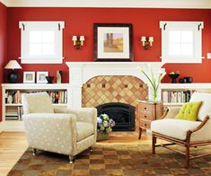 Designer Elaine Griffin's Color Tip: Warm red makes spaces feel cozy. It's also super adaptable with most any color and style.