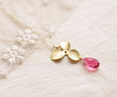 Orchid and Crystal Necklace . indian pink swarovski by CocoroJewelry on Etsy